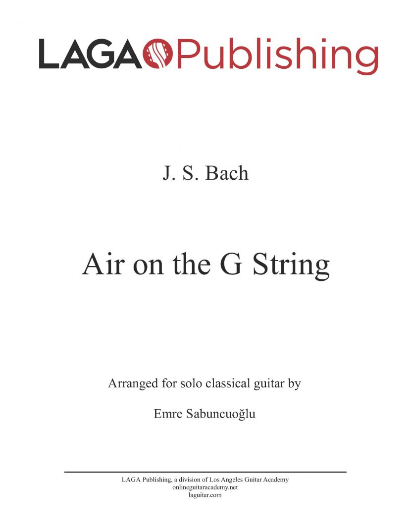 Air on a G String (BWV 1068) by J. S. Bach for classical guitar