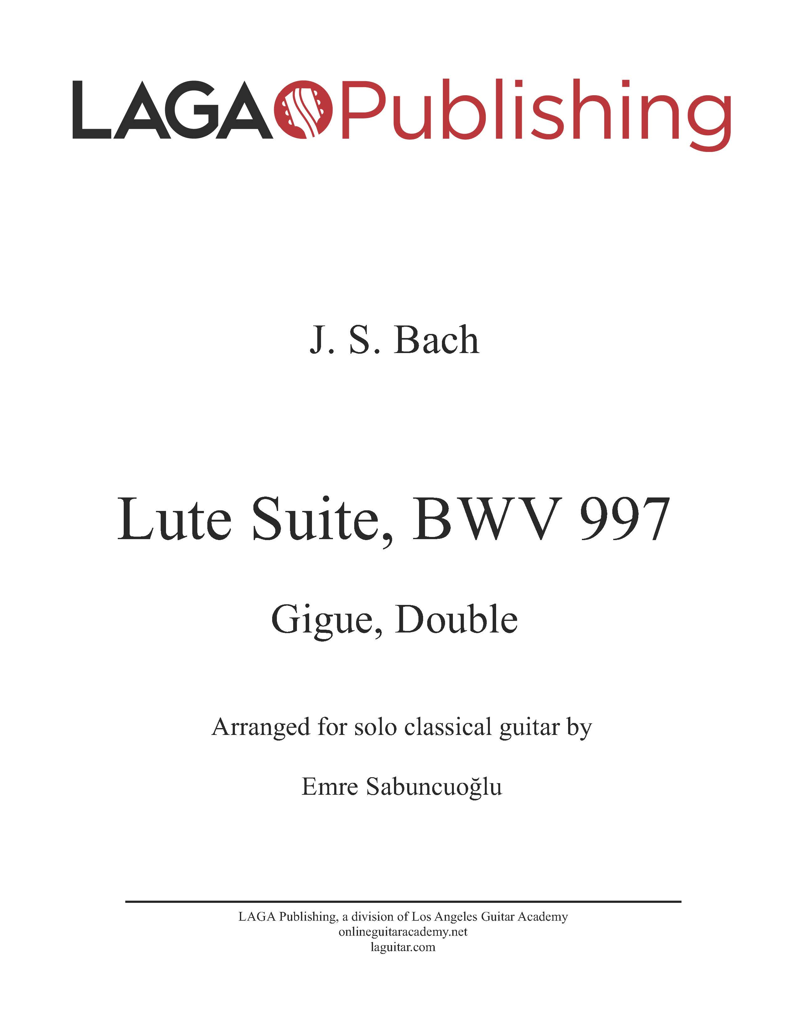 Double from the Partita for Lute in C Minor, BWV 997 by J.S. Bach