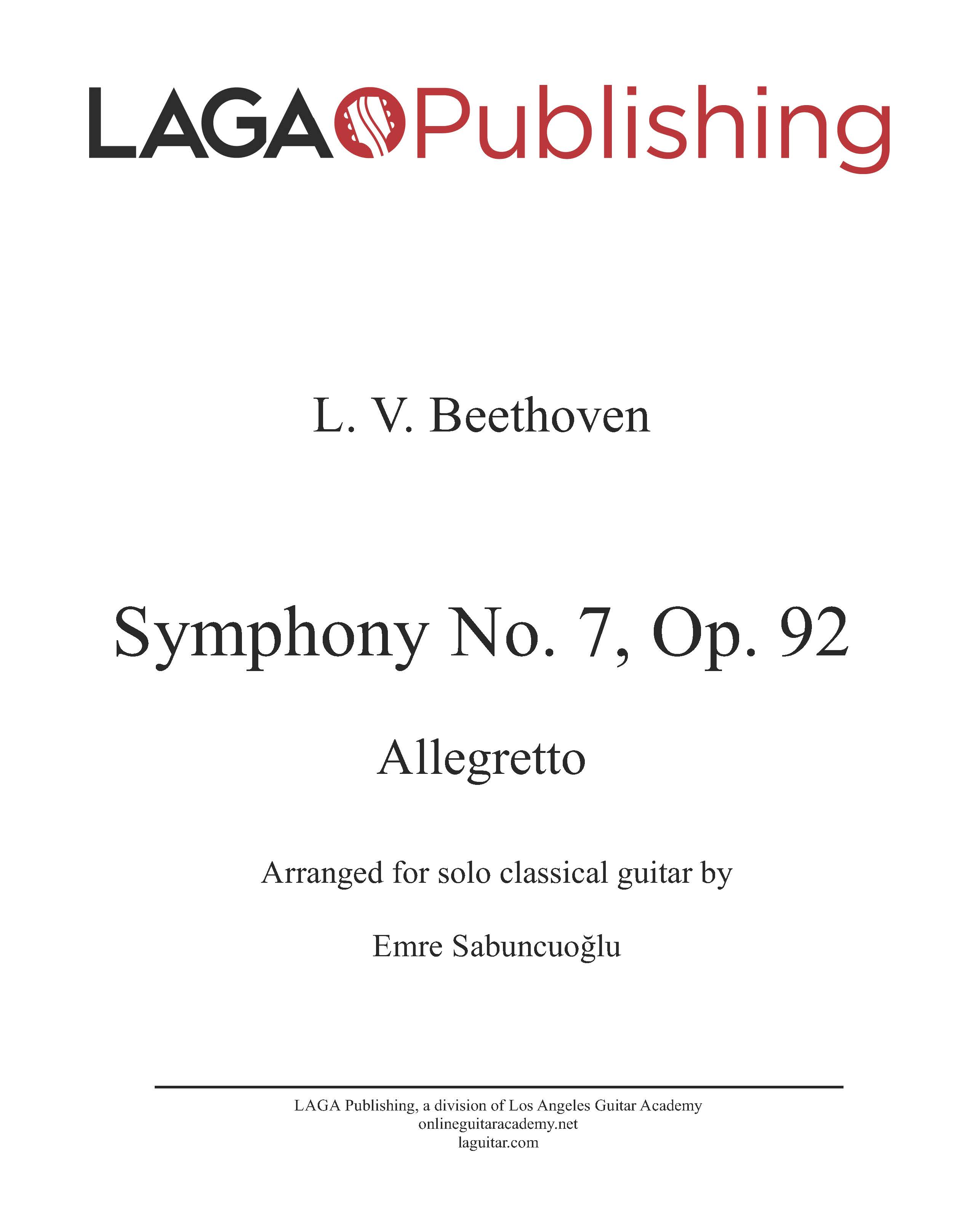 Symphony No. 7, Op. 92, II, Allegretto (Advanced Level) by L.V. Beethoven