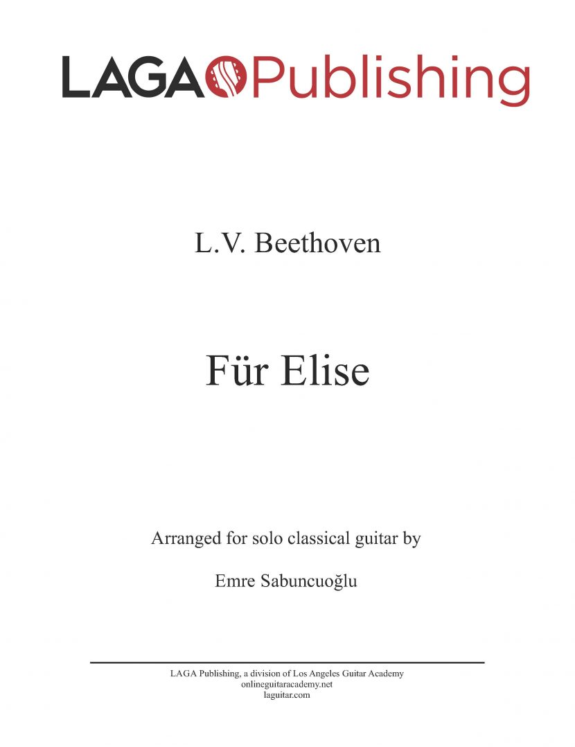 Für Elise (Bagatelle) by L.V. Beethoven for classical guitar
