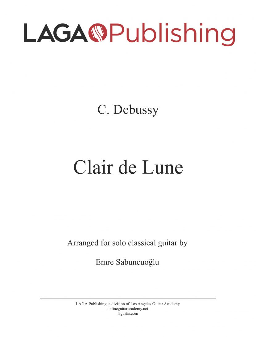 Clair de Lune by C. Debussy for classical guitar