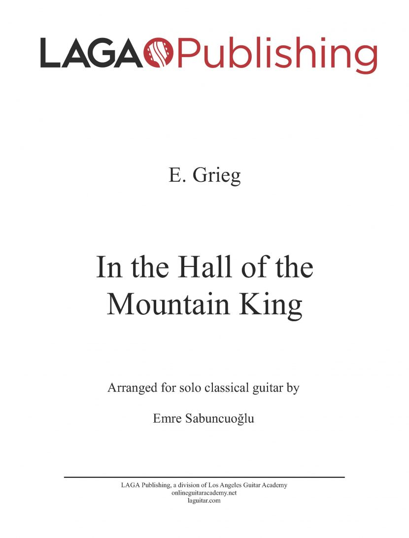 In the Hall of the Mountain King by E. Grieg for classical guitar