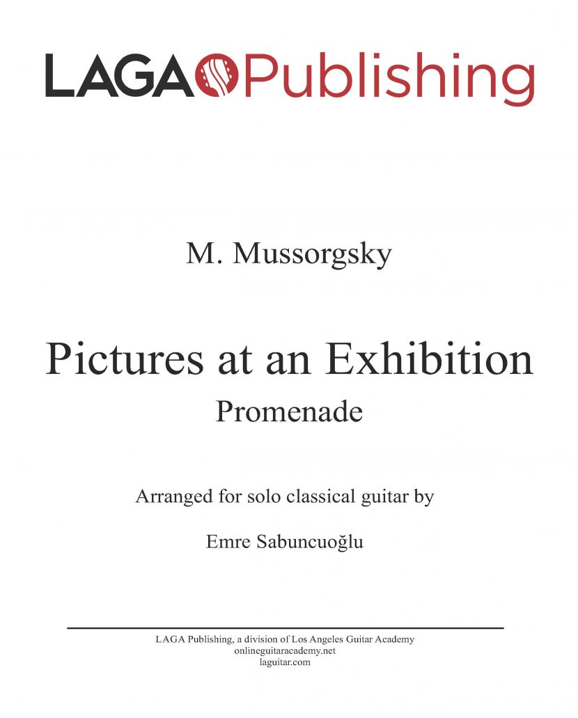 Promenade from Pictures at an Exhibition by Modest Mussorgsky for classical guitar