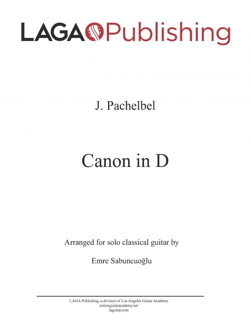 Canon in D Major by Johann Pachelbel for classical guitar