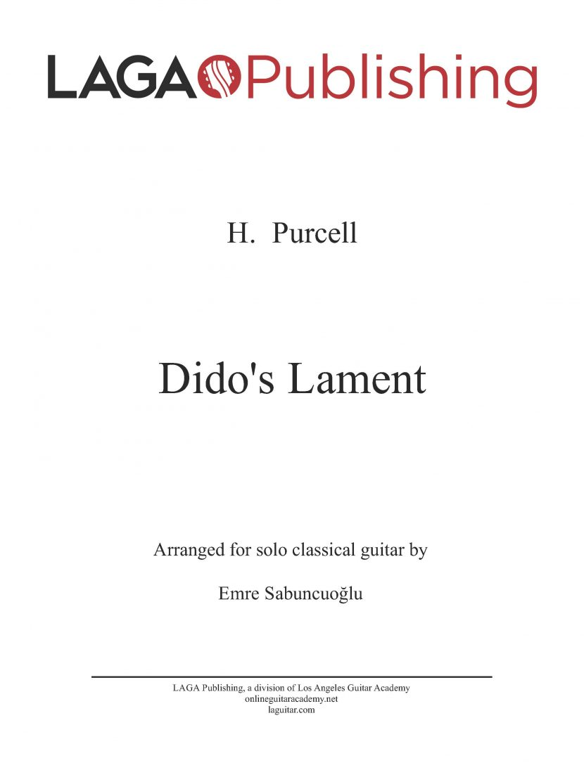 Dido's Lament by H. Purcell for classical guitar