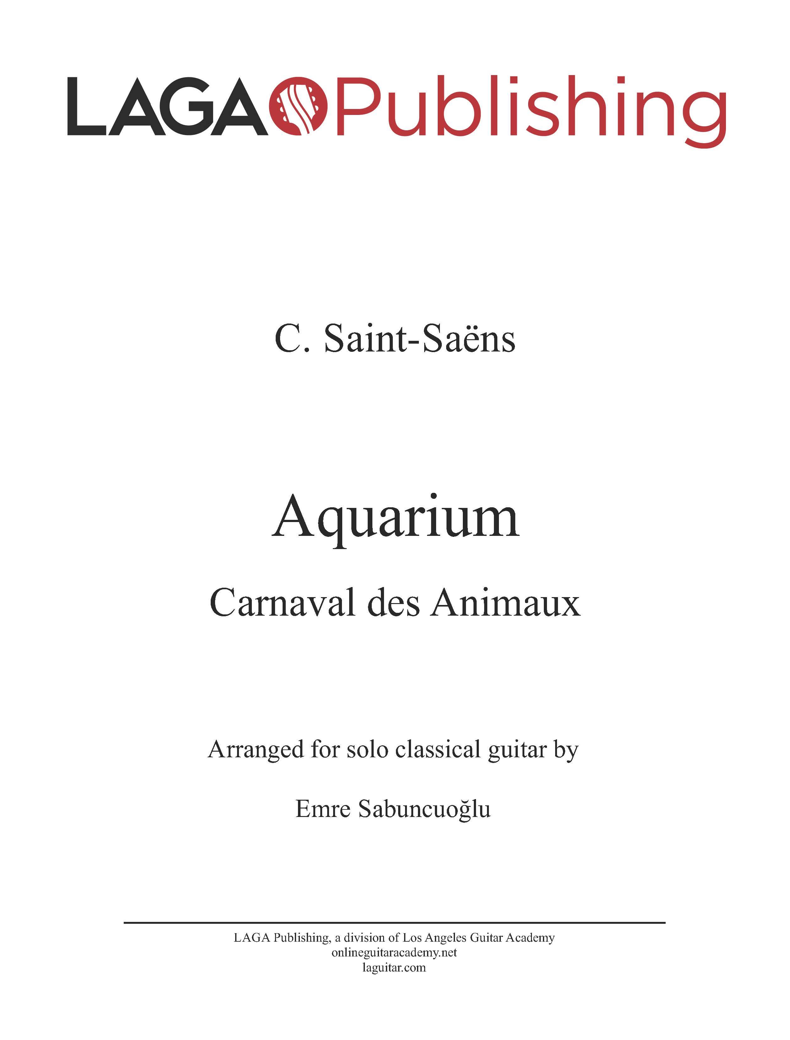 Aquarium by C  Saint-Saens for classical guitar