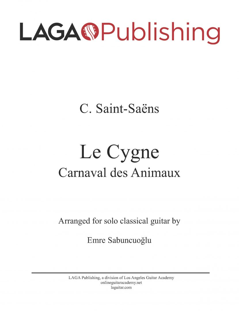 Le Cygne (Swan) by C. Saint-Saëns for classical guitar