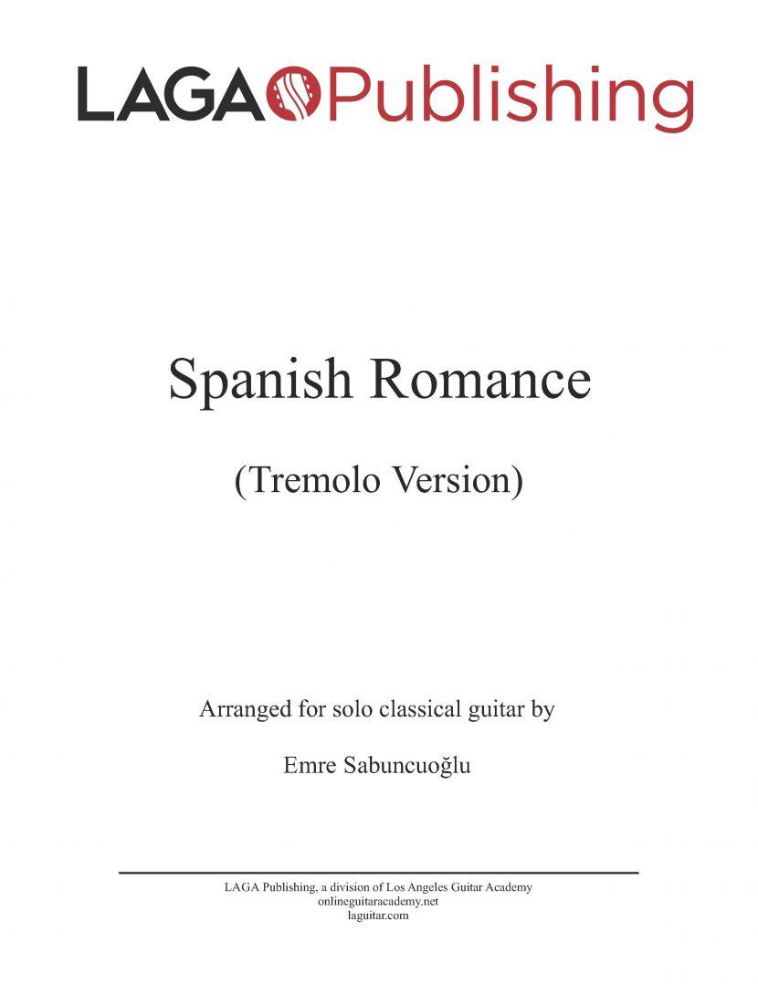 Spanish Romance (Tremolo Version) for classical guitar