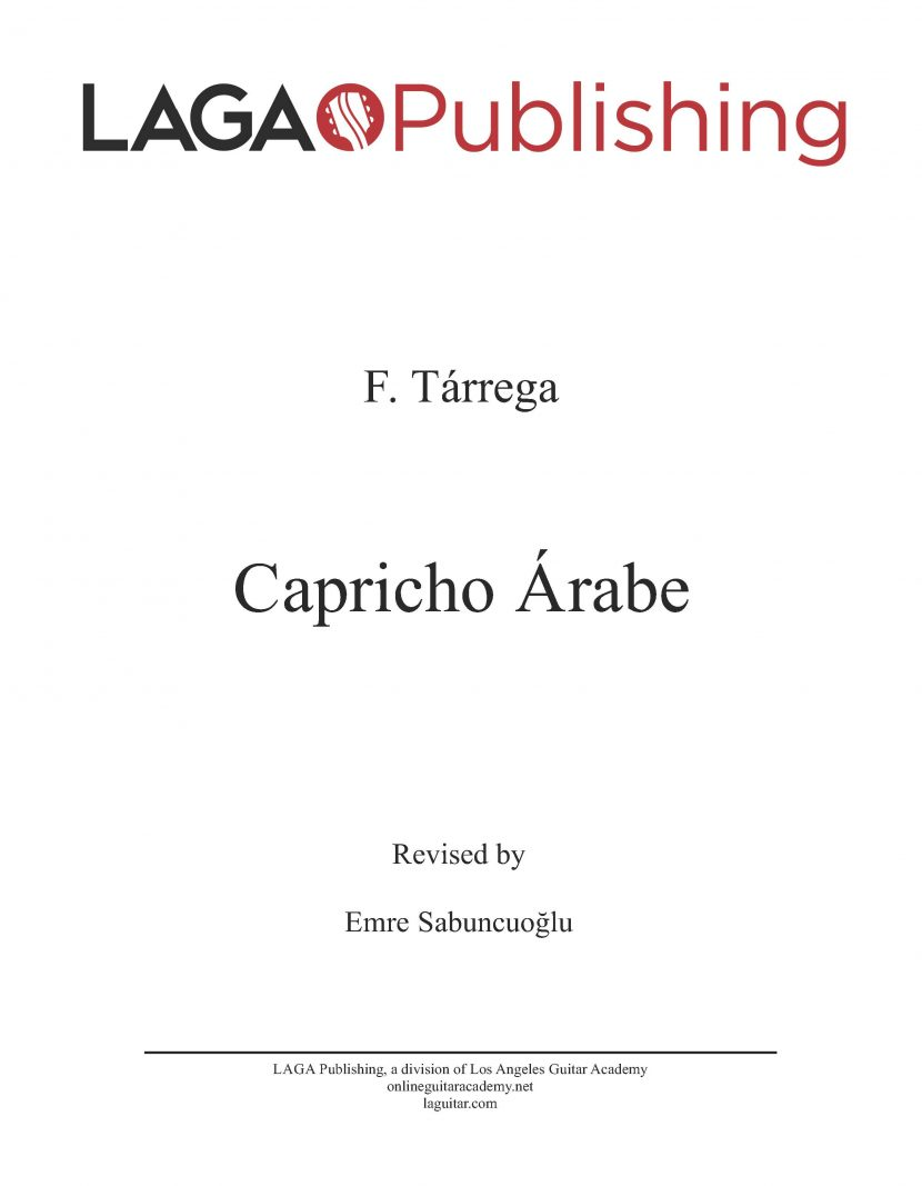 Capricho Arabe by F. Tarrega for classical guitar