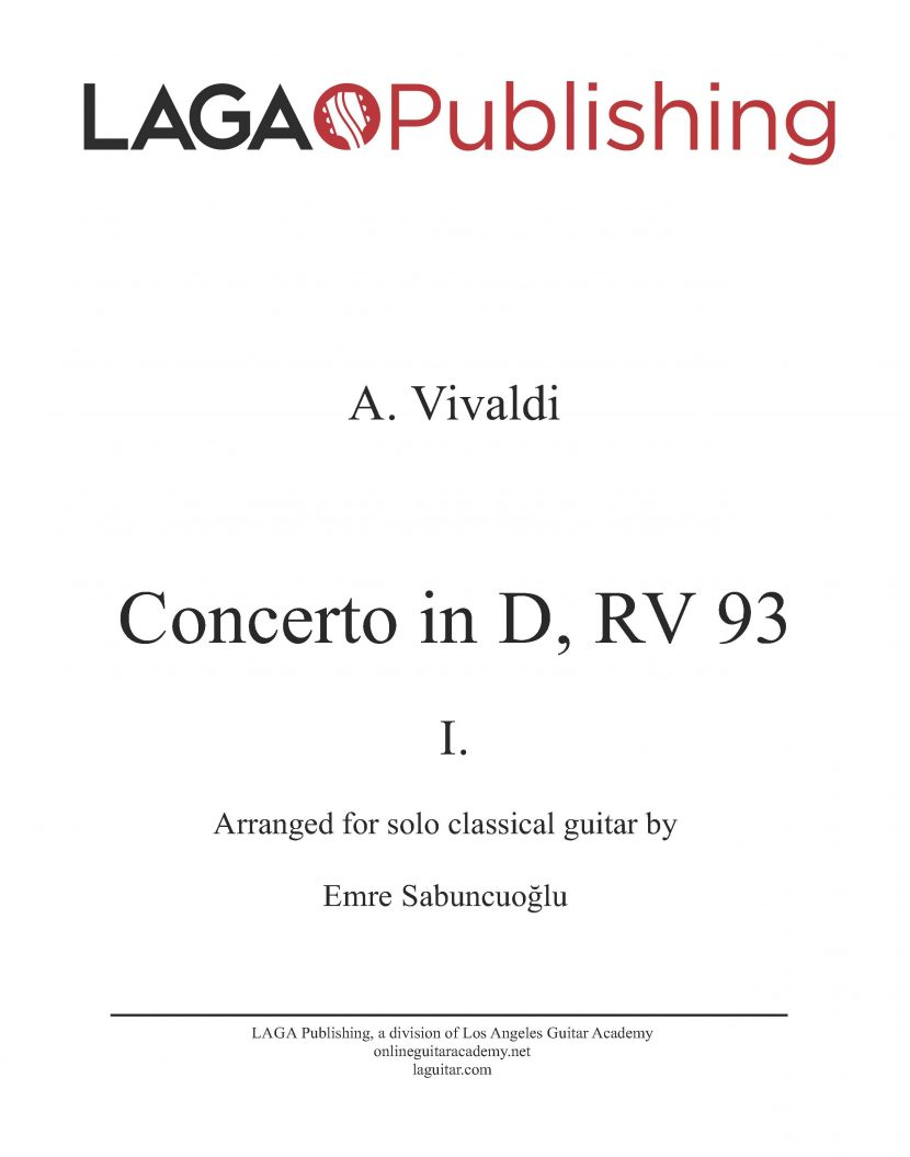 Concerto in D (RV 93) 'Allegro' First Movement by A. Vivaldi for classical guitar