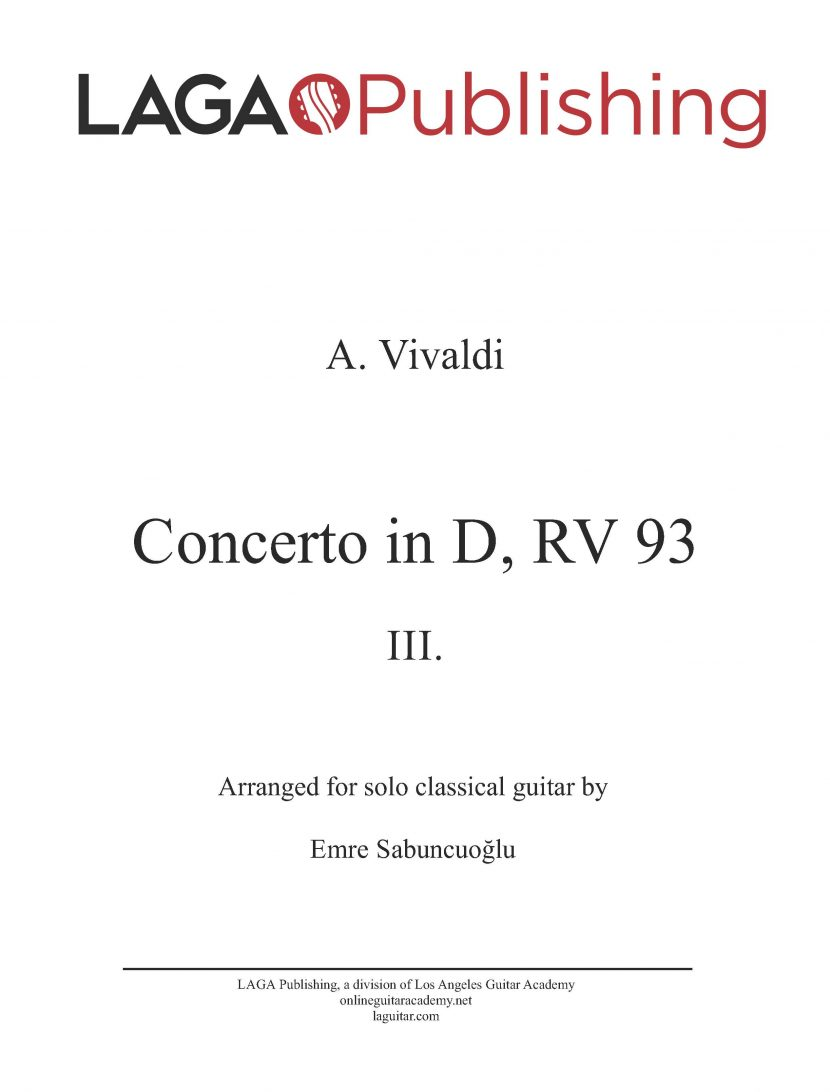 Concerto in D (RV 93) 'Allegro' Third Movement by A. Vivaldi for classical guitar