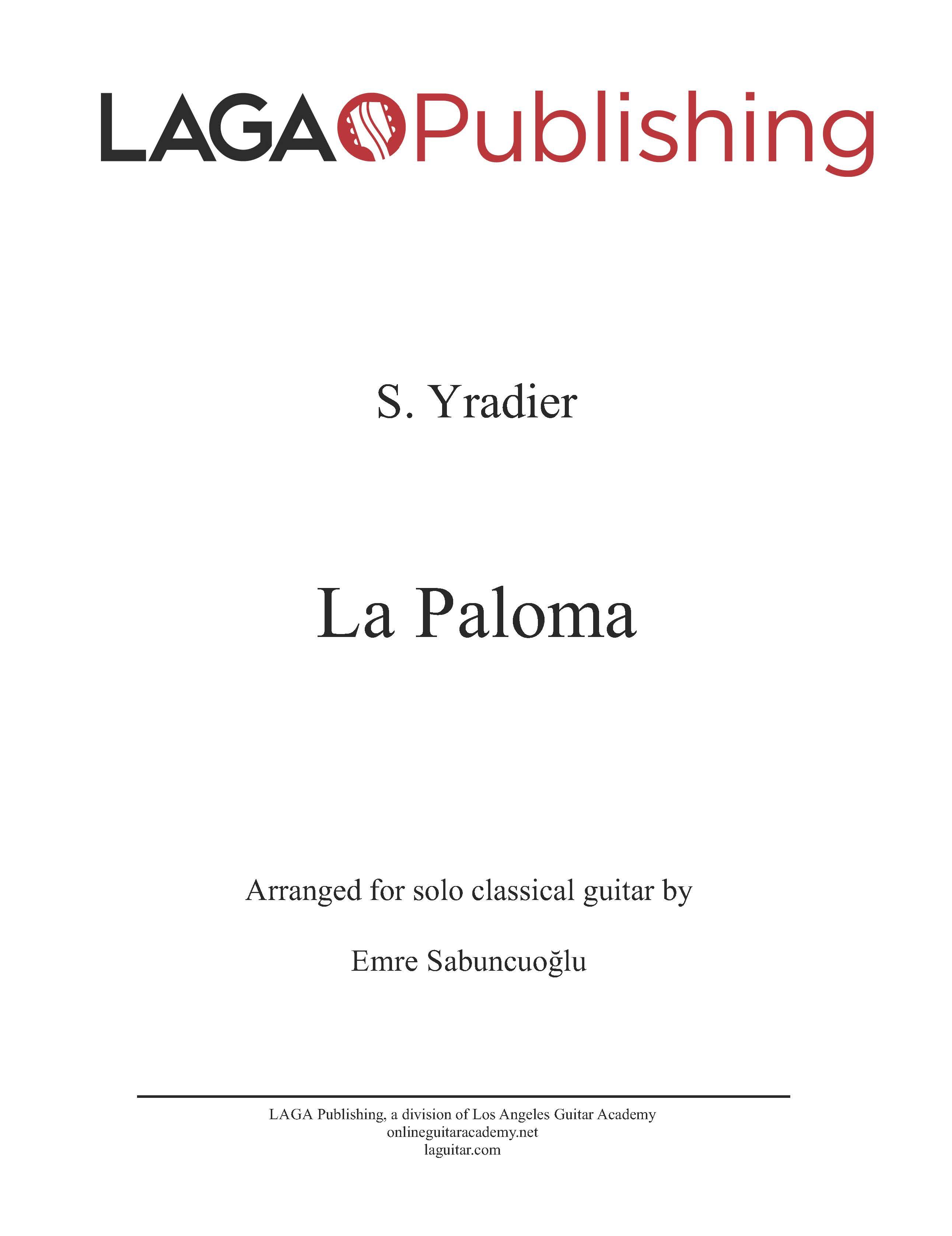 LAGA-Publishing-Yradier-La-Paloma-Score-and-Tab
