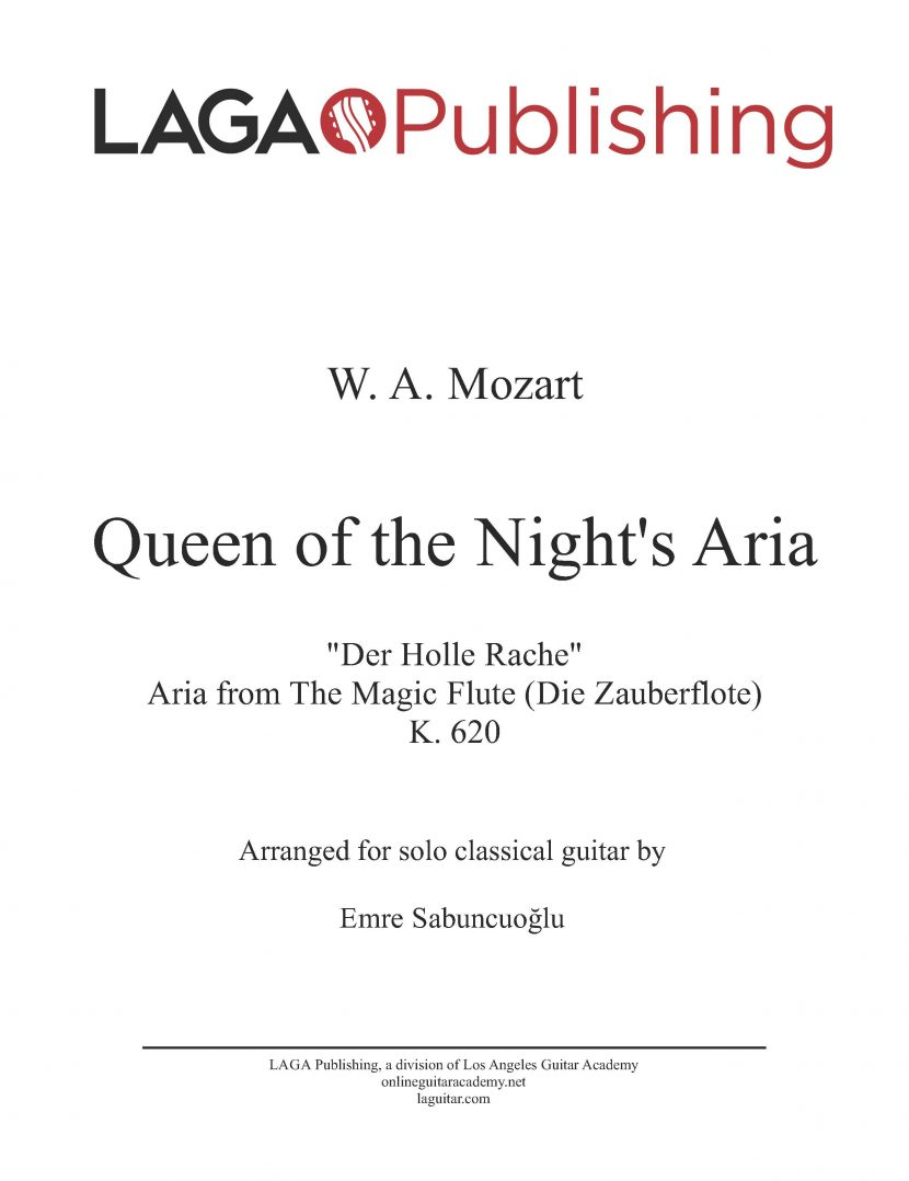 Queen of the Night's Aria by W. A. Mozart for classical guitar