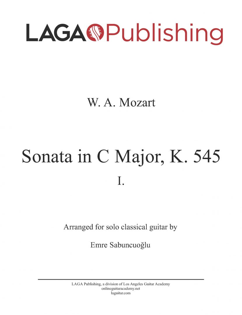 Sonata in C Major (K. 545) First Movement by W. A. Mozart for classical guitar