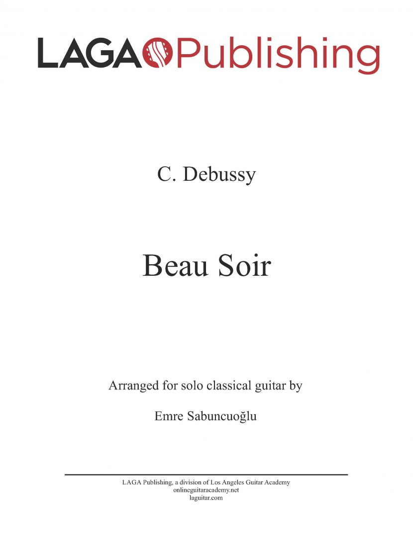 Beau Soir by C. Debussy for classical guitar