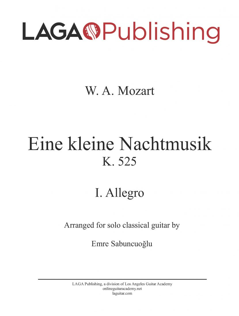 Eine kleine Nachtmusik (K. 525) First Movement by W. A. Mozart for classical guitar