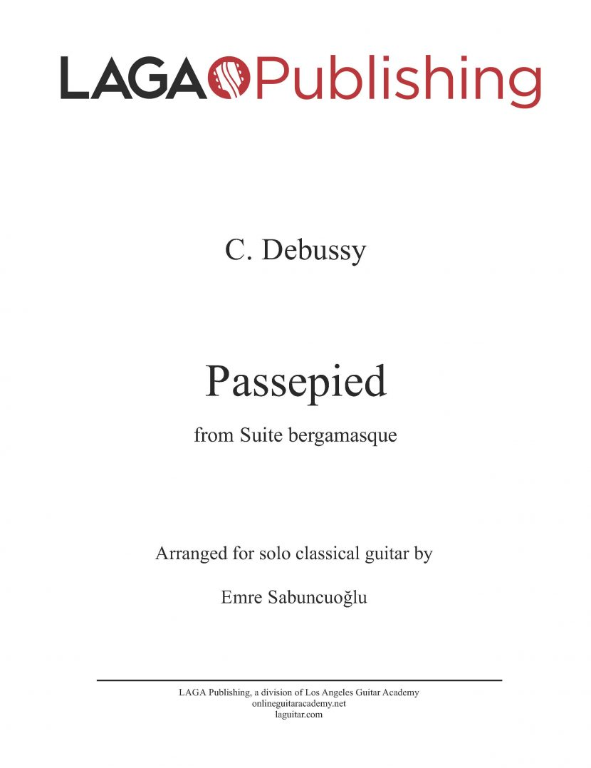 Passepied from Suite Bergamasque by C. Debussy for classical guitar