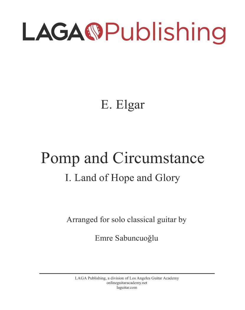 Pomp and Circumstance (Op.39 No.1) by E. Elgar for classical guitar