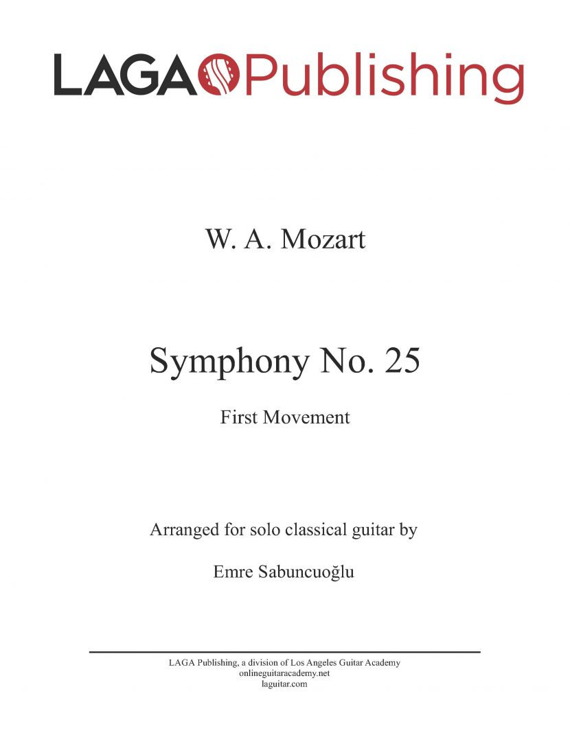 Symphony No. 25 (First Movement) by W. A. Mozart for classical guitar