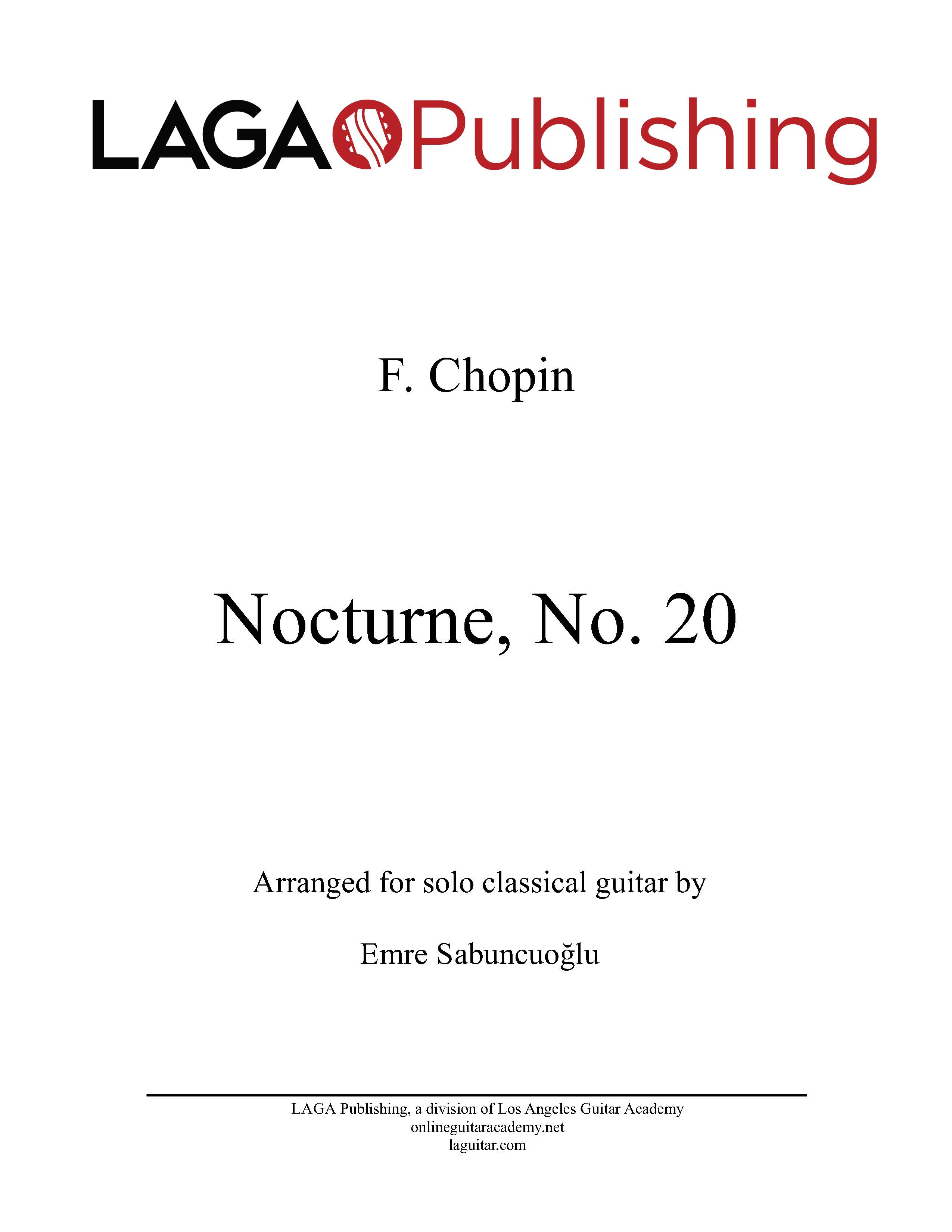 Nocturne No. 20, by F. Chopin for classical guitar