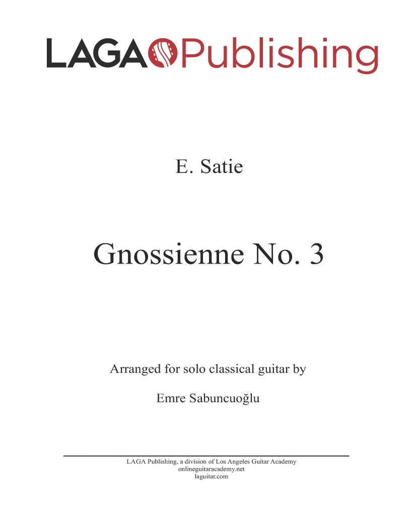 Gnossienne No. 3 by Erik Satie for classical guitar