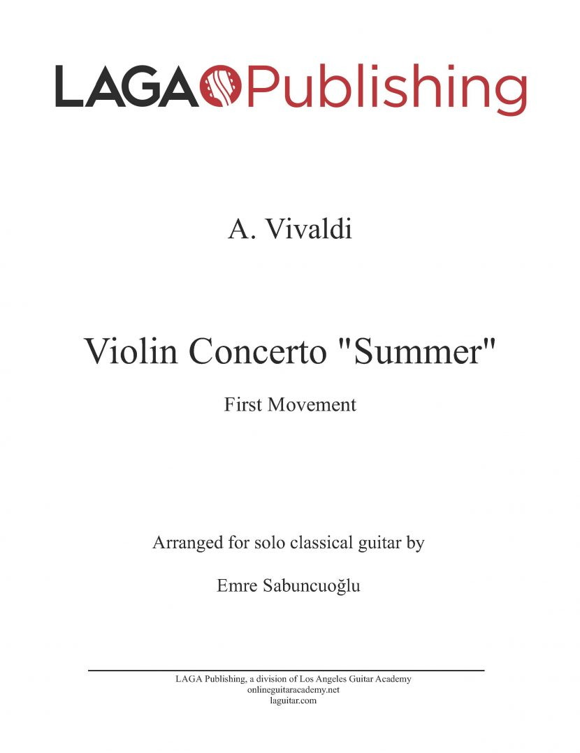 The Four Seasons - Summer (1st movement) by A. Vivaldi for classical guitar