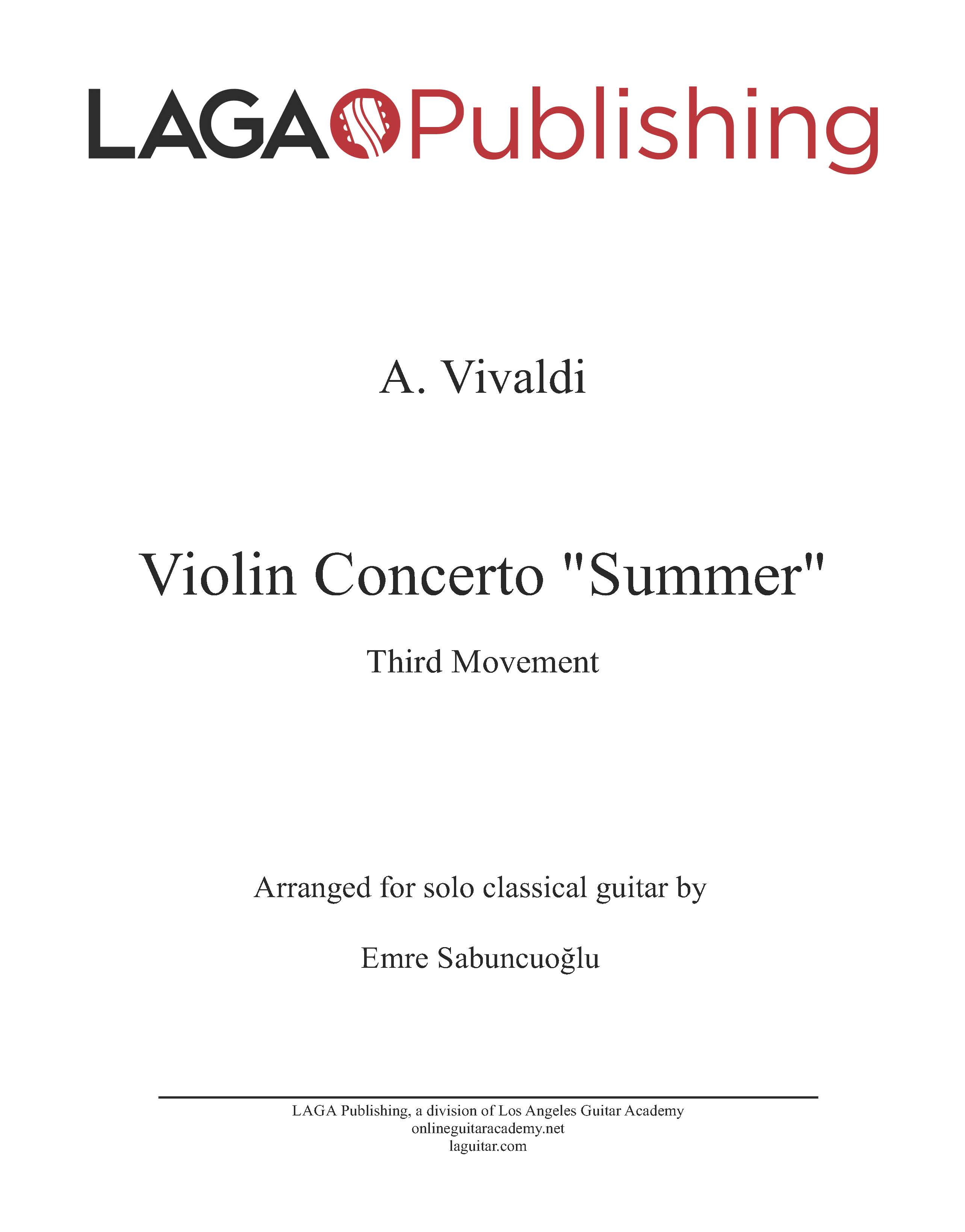 The Four Seasons, Summer, Third mvt, by A. Vivaldi for classical guitar