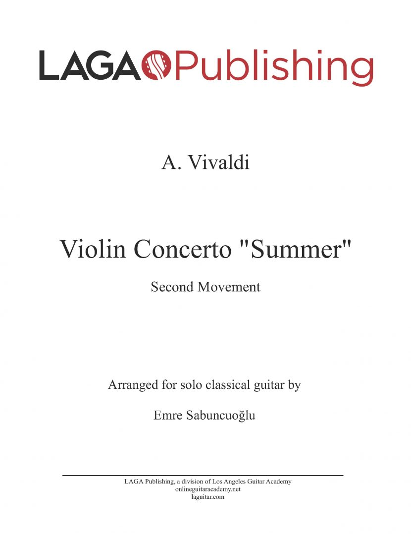 The Four Seasons - Summer (2nd movement) by A. Vivaldi for classical guitar