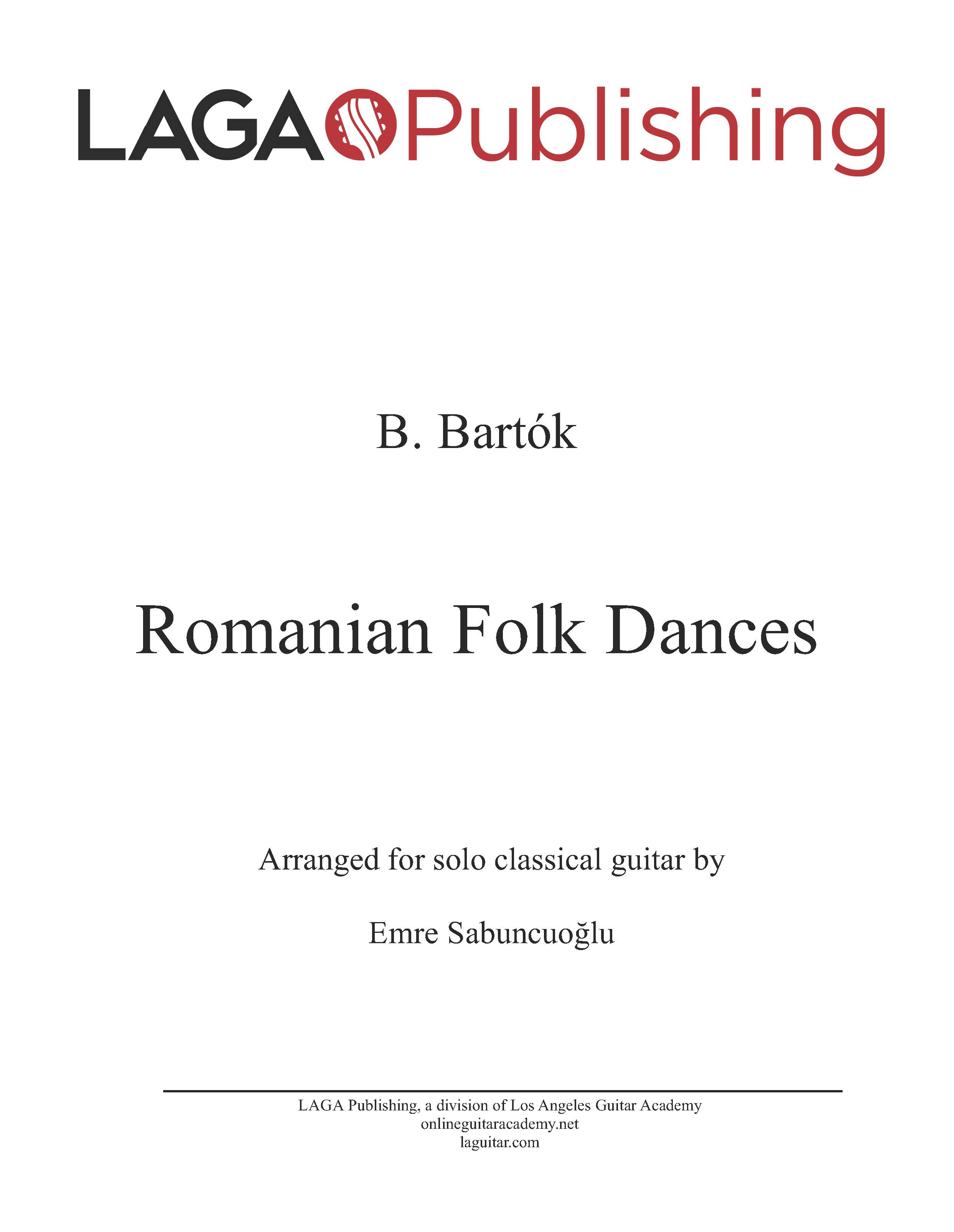 Romanian Folk Dances by Béla Bartók for classical guitar