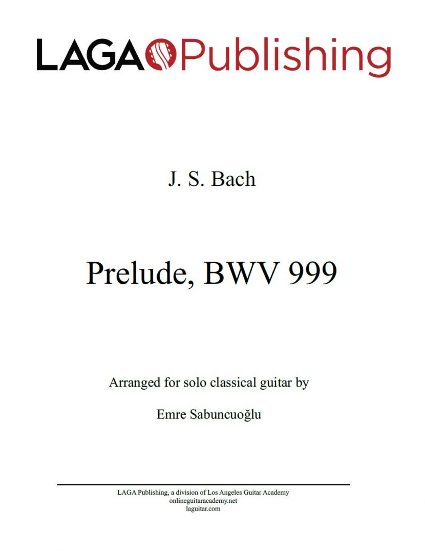 Prelude for Lute (BWV 999) by J. S. Bach for classical guitar