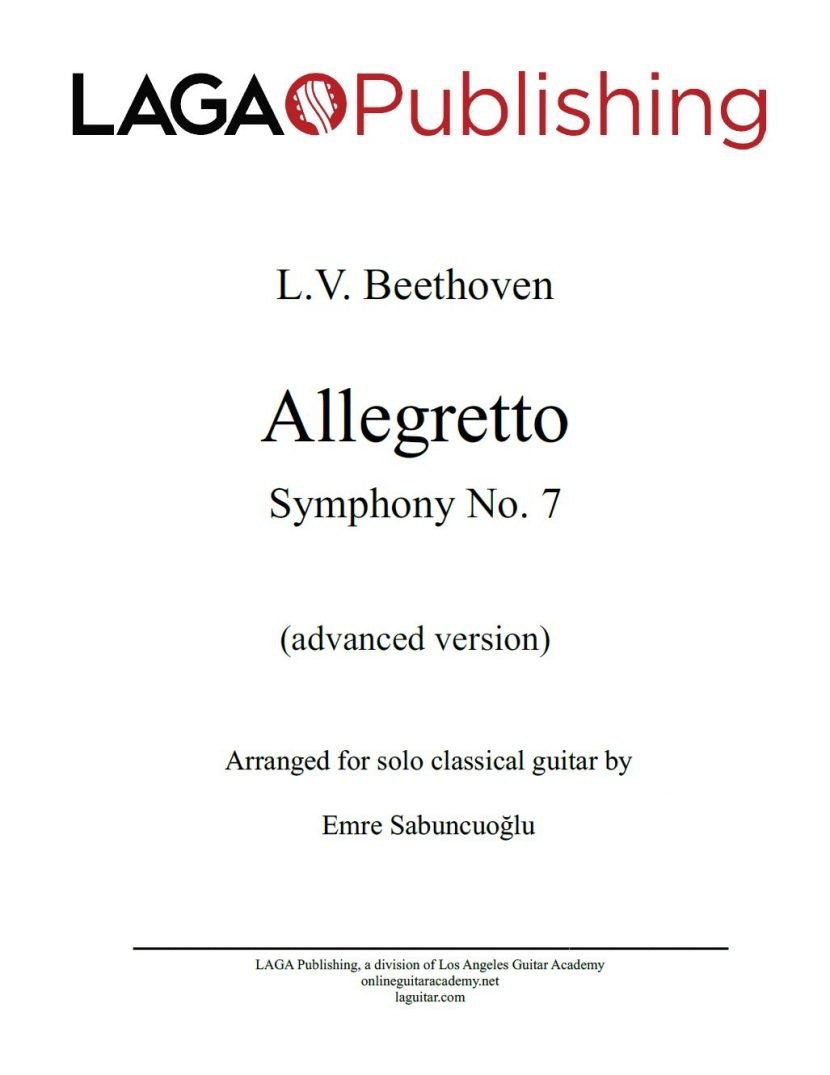Allegretto from Symphony No. 7 (Op. 92) by L.V. Beethoven for classical guitar - Advanced level