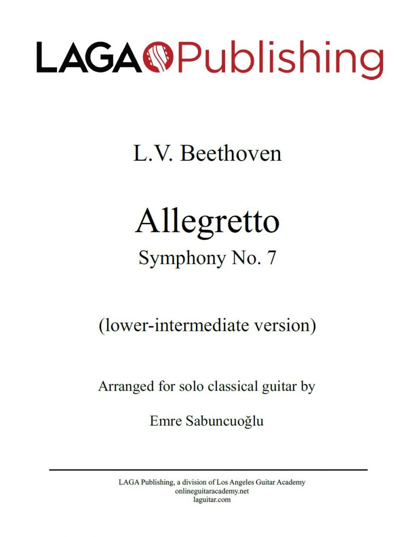 Allegretto from Symphony No. 7 (Op. 92) by L.V. Beethoven for classical guitar - Intermediate level