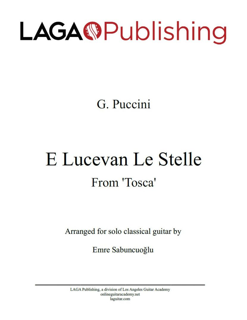 E Lucevan Le Stelle from Tosca by G. Puccini for classical guitar