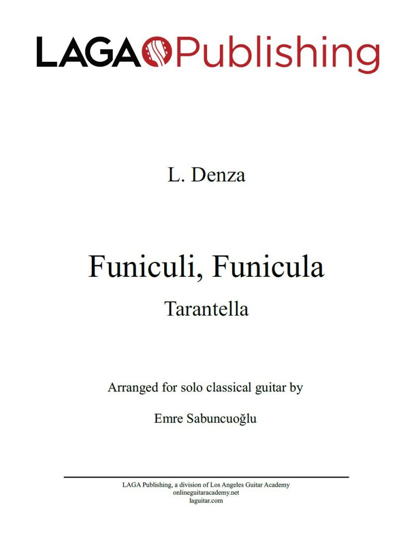 Funiculì Funiculà by Luigi Denza for classical guitar