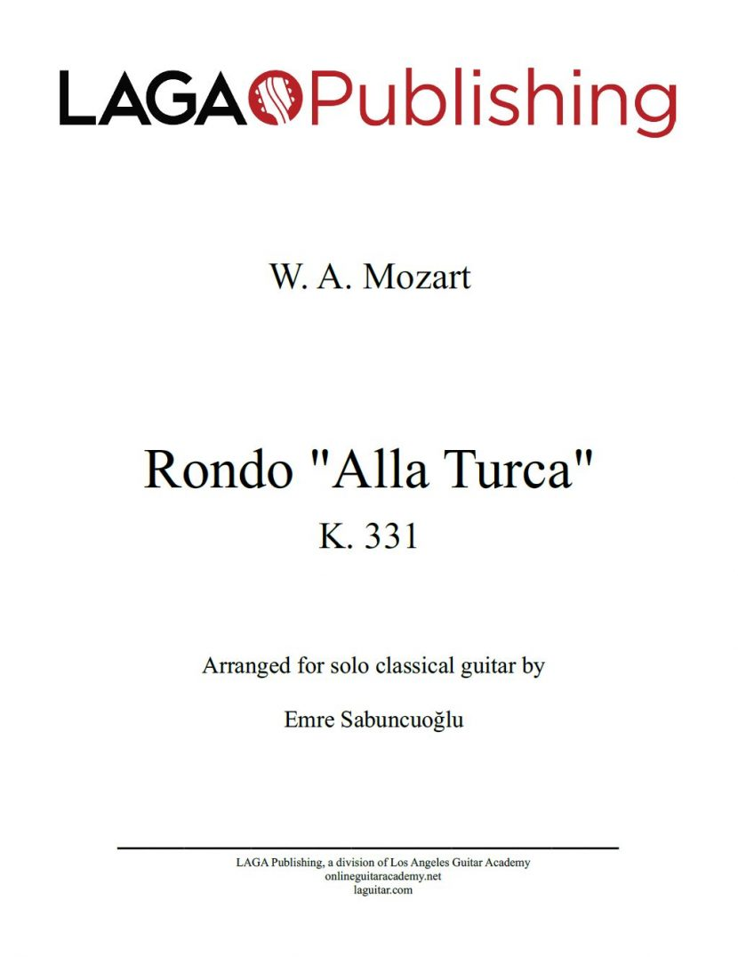 """Rondo """"Alla Turca"""" (Turkish March) by W. A. Mozart for classical guitar"""