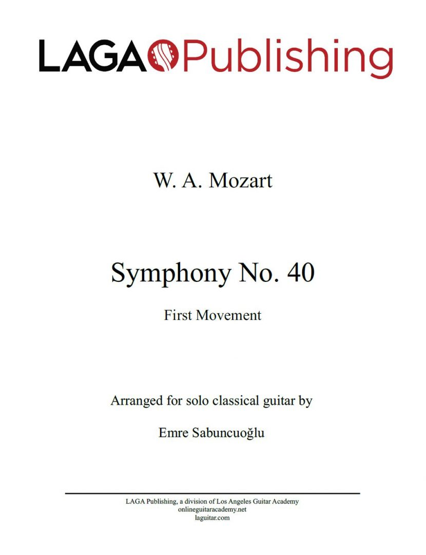 Symphony No.40 (First Movement) by W. A. Mozart for classical guitar