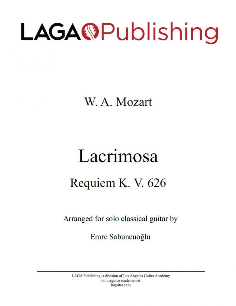 Lacrimosa by W. A. Mozart for classical guitar