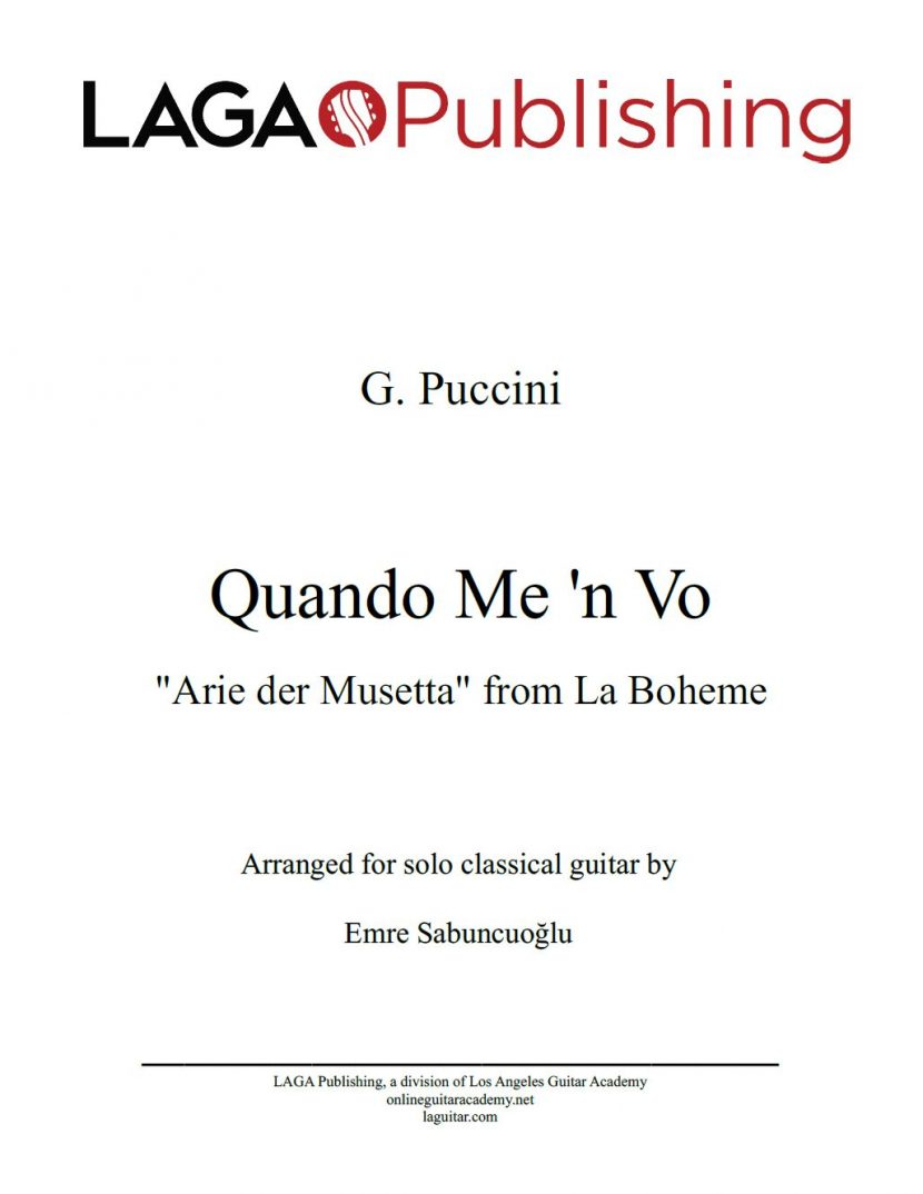 Quando Me'n Vo by G. Puccini for classical guitar