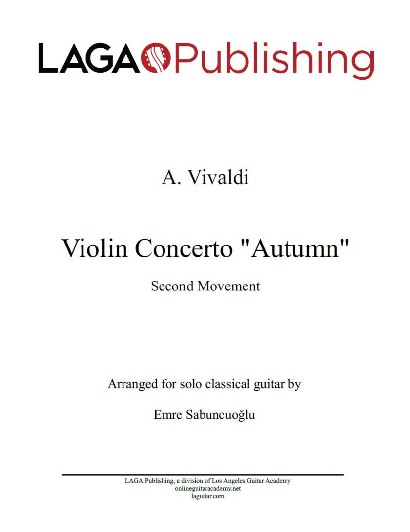The Four Seasons - Autumn (2nd movement) by A. Vivaldi for classical guitar