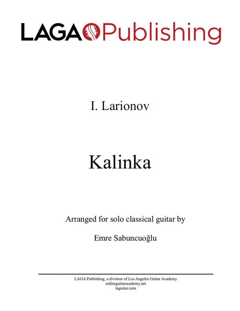 Kalinka by Ivan Larionov for classical guitar