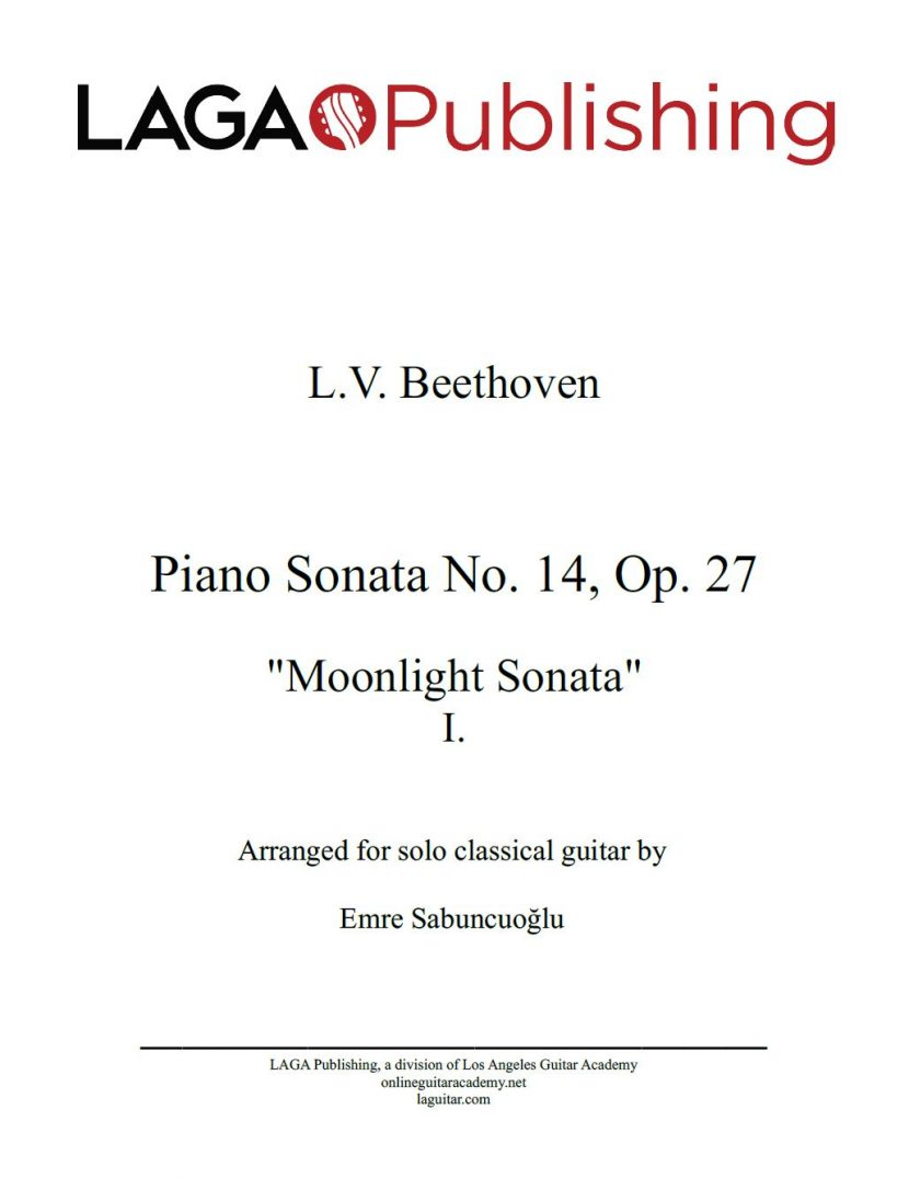 Moonlight Sonata - First Movement by L. V. Beethoven for classical guitar