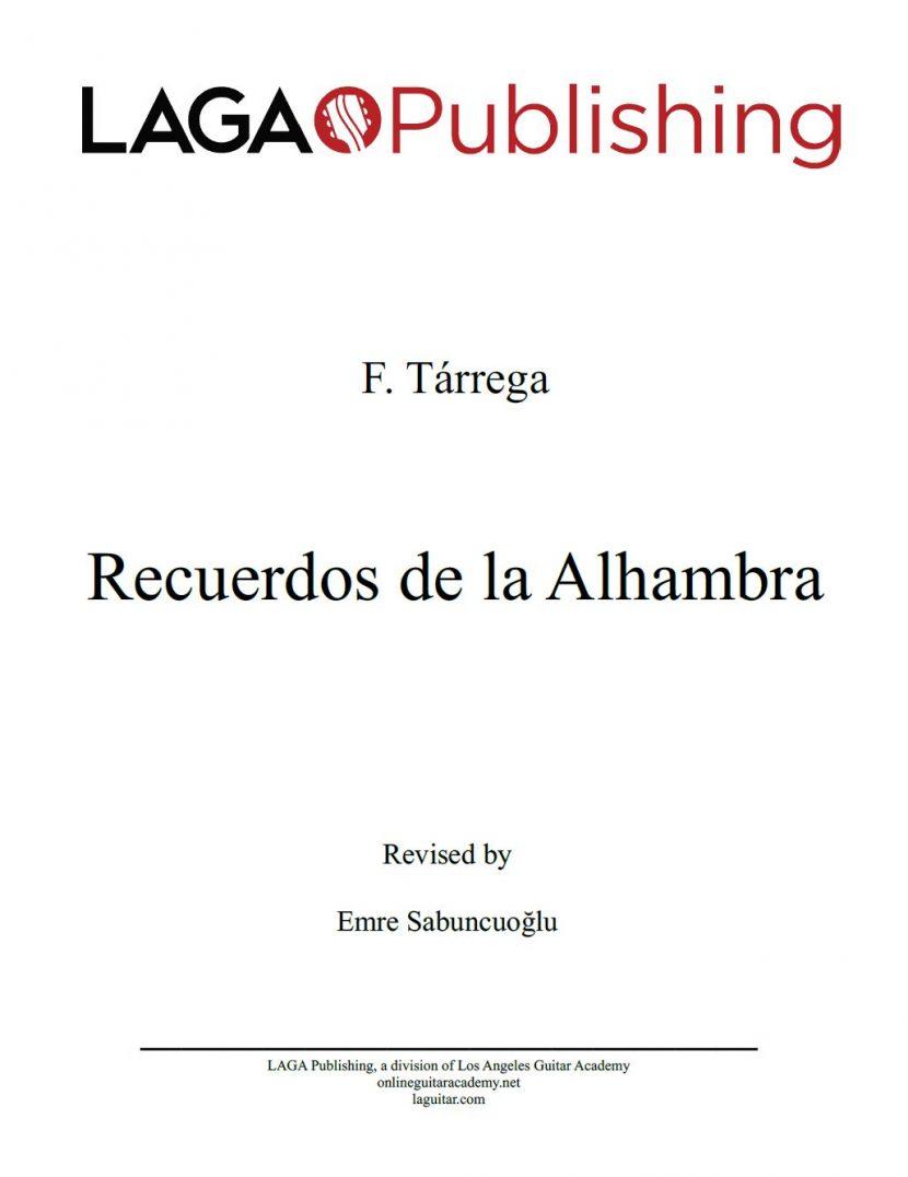 Recuerdos de la Alhambra by F. Tarrega for classical guitar
