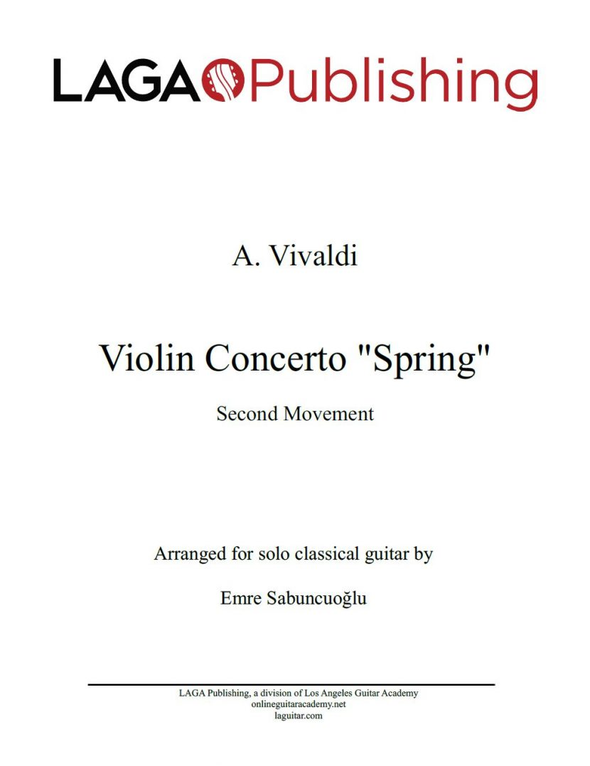 The Four Seasons - Spring (2nd movement) by A. Vivaldi for classical guitar