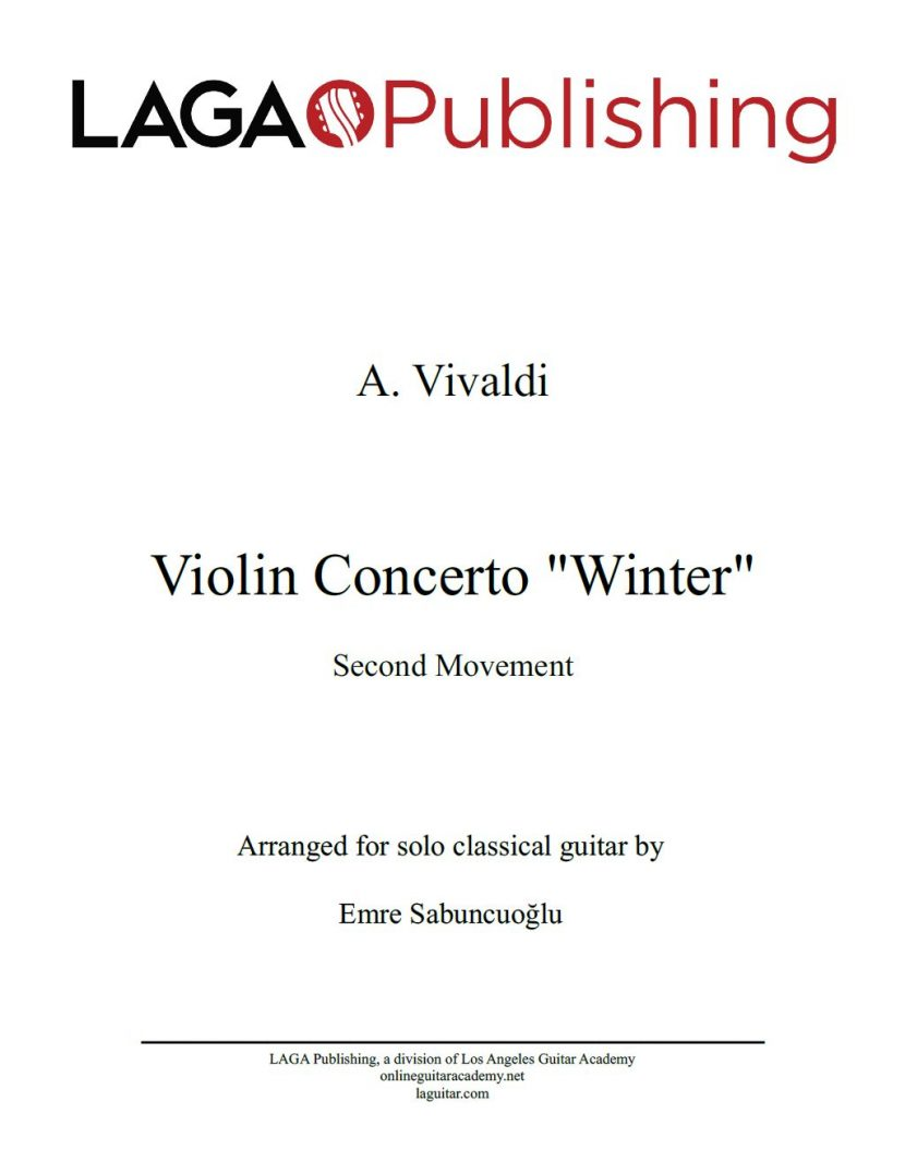 The Four Seasons - Winter (2nd movement) by A. Vivaldi for classical guitar