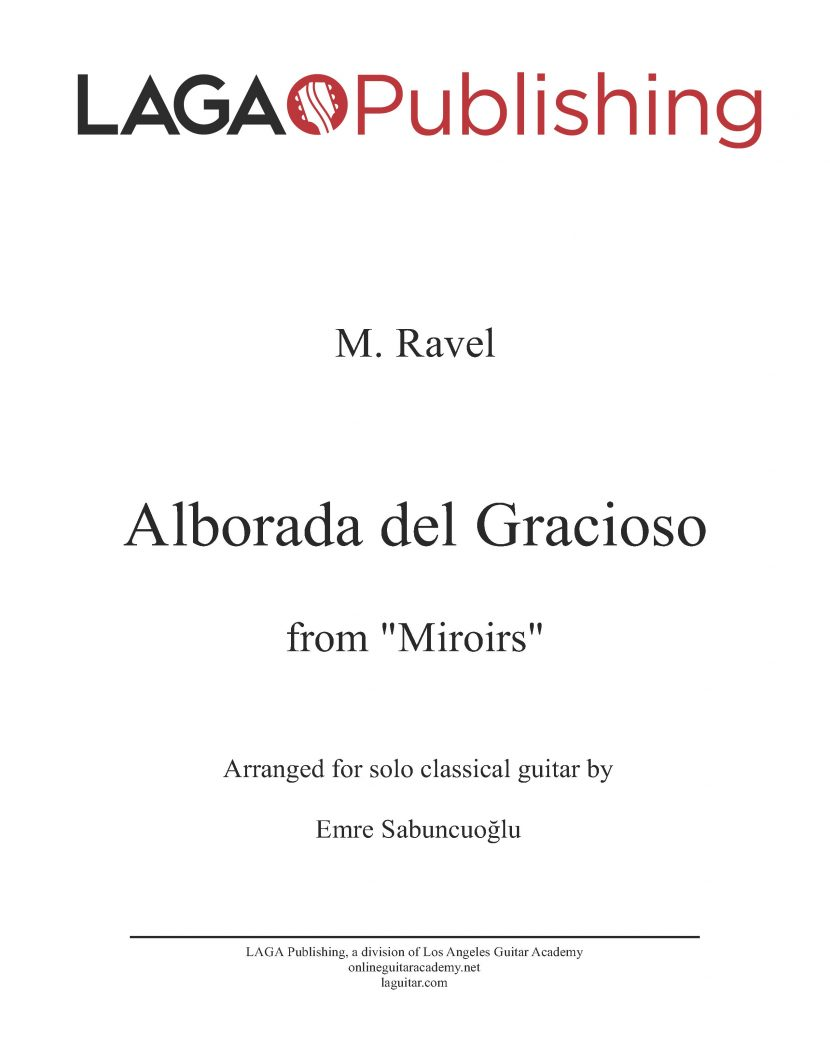 Alborada del gracioso from Miroirs by M. Ravel for classical guitar
