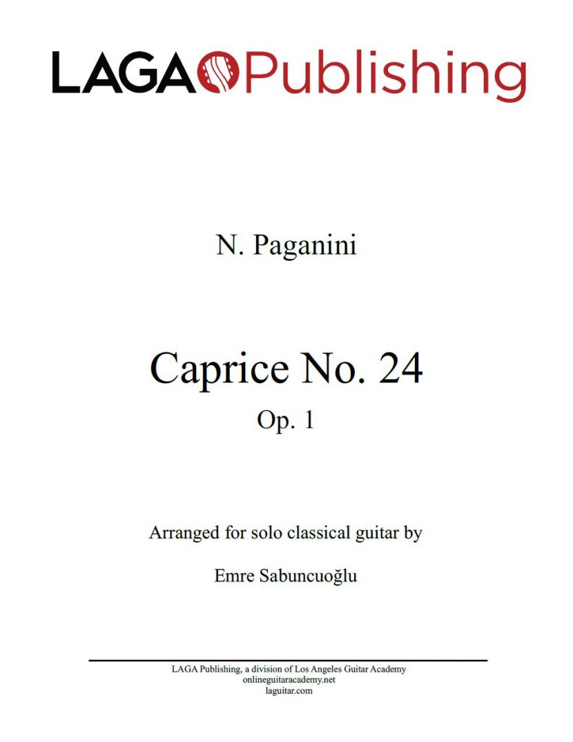 Caprice No. 24, Op. 1 by N. Paganini for classical guitar