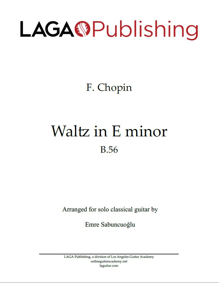 Waltz in E minor, Op. posth (B. 56) by F. Chopin for classical guitar