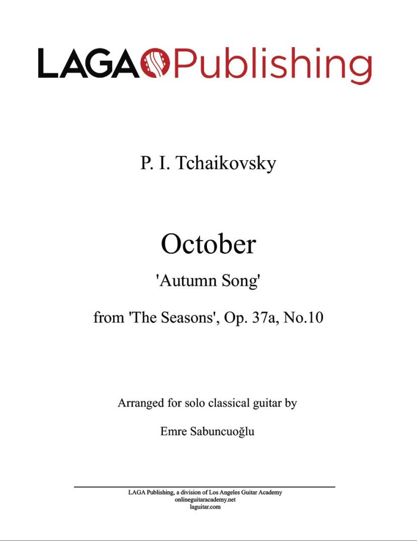 October (Autumn Song) by P. I. Tchaikovsky for classical guitar