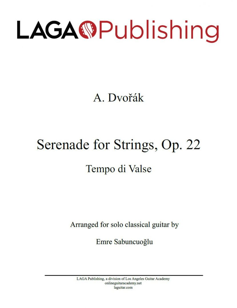 Serenade for Strings (Op. 22), Tempo di Valse by A. Dvořák for classical guitar