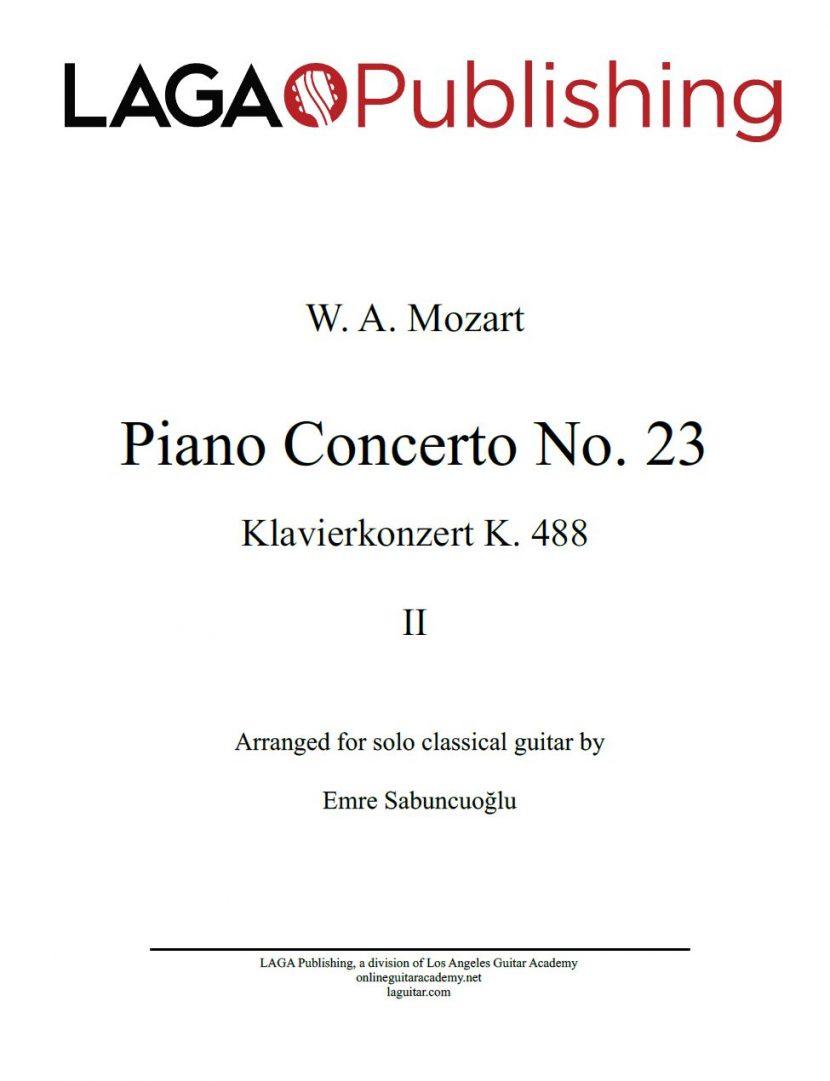 Piano Concerto No. 23 (Klavierkonzert K. 488) by W. A. Mozart for solo classical guitar